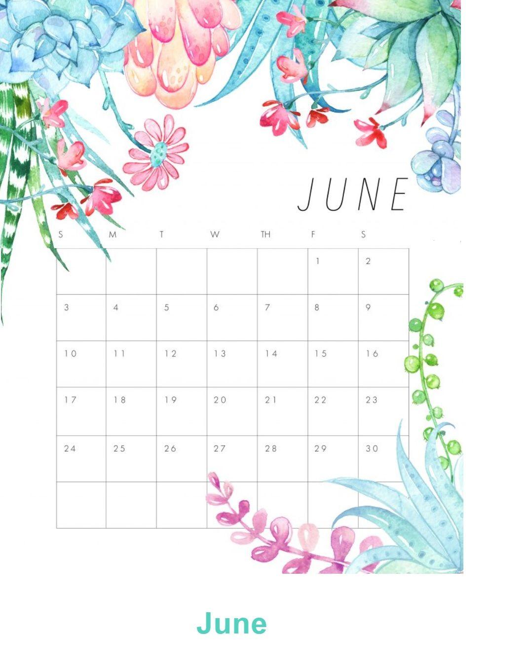 June 2018 Floral Calendar | Calendar 2018 | Pinterest | June, Desk ...