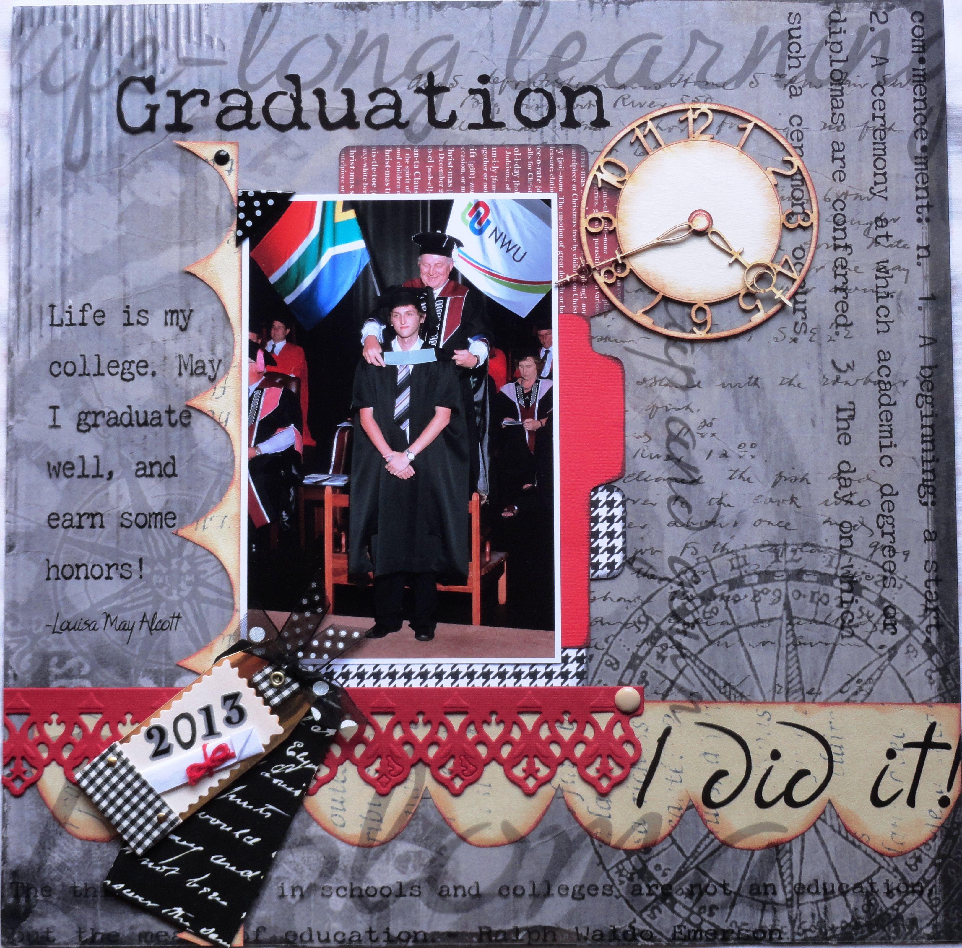 Scrapbook ideas graduation - Graduation Layout Scrapbooking Scrapbook Layouts Pinterest 3256x3209 Black White Graduation Scrapbook Layout 640x640