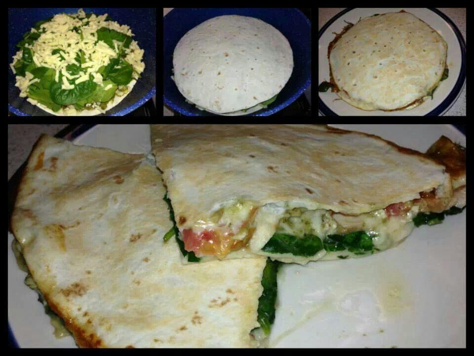 Spinach tomato quesadilla | Recipes | Pinterest