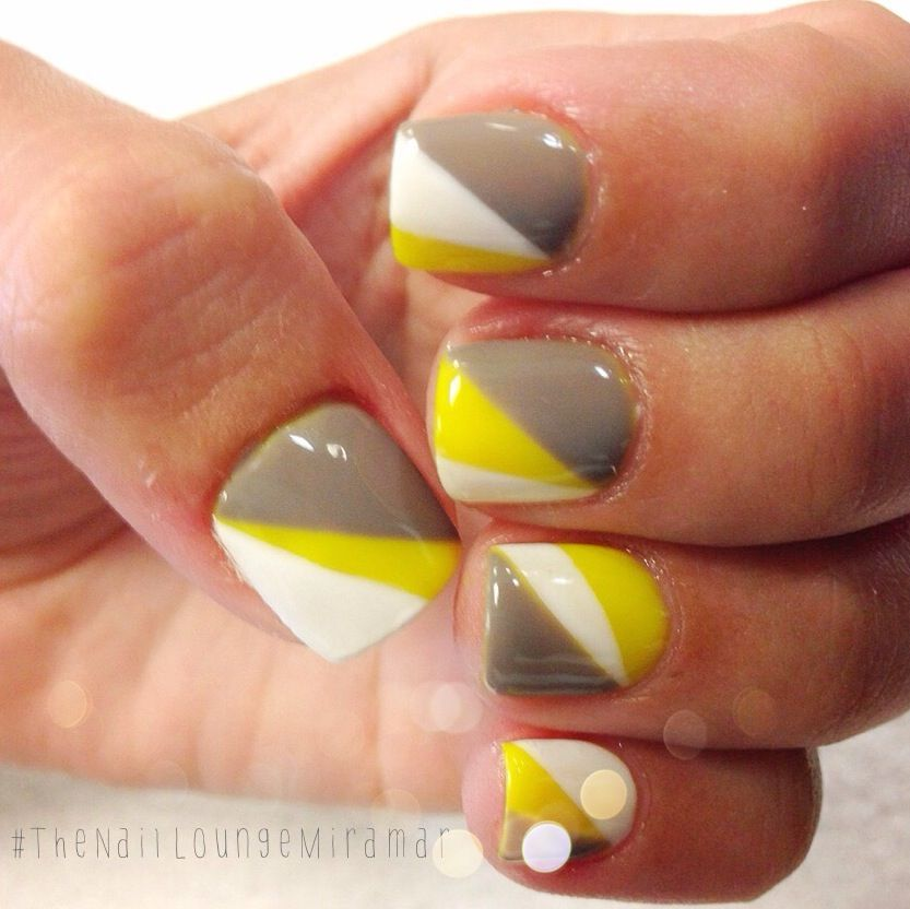 Yellow,gray gel nail art | Nail Art | Pinterest