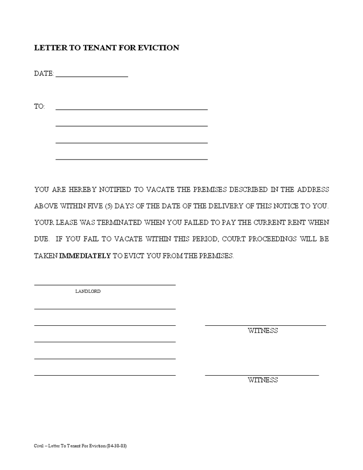Example Of 30 Day Notice Printable Editable Blank – Tenant Eviction Notice Form