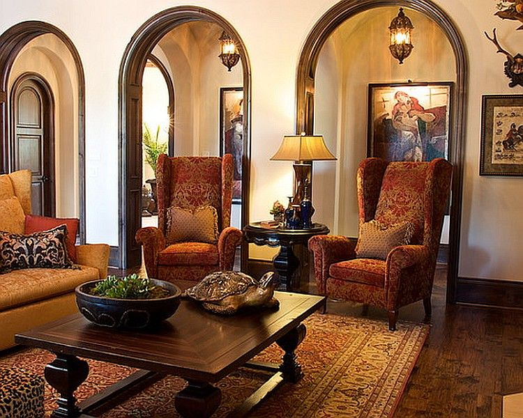 Living room arches spanish colonial revival mediterranean mis for Spanish colonial revival living room