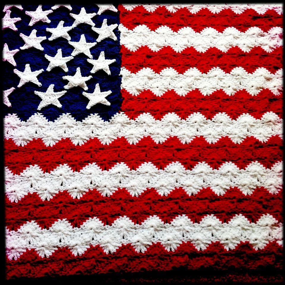 Knitting Pattern For American Flag Afghan : Flag afghan CROCHET Pinterest