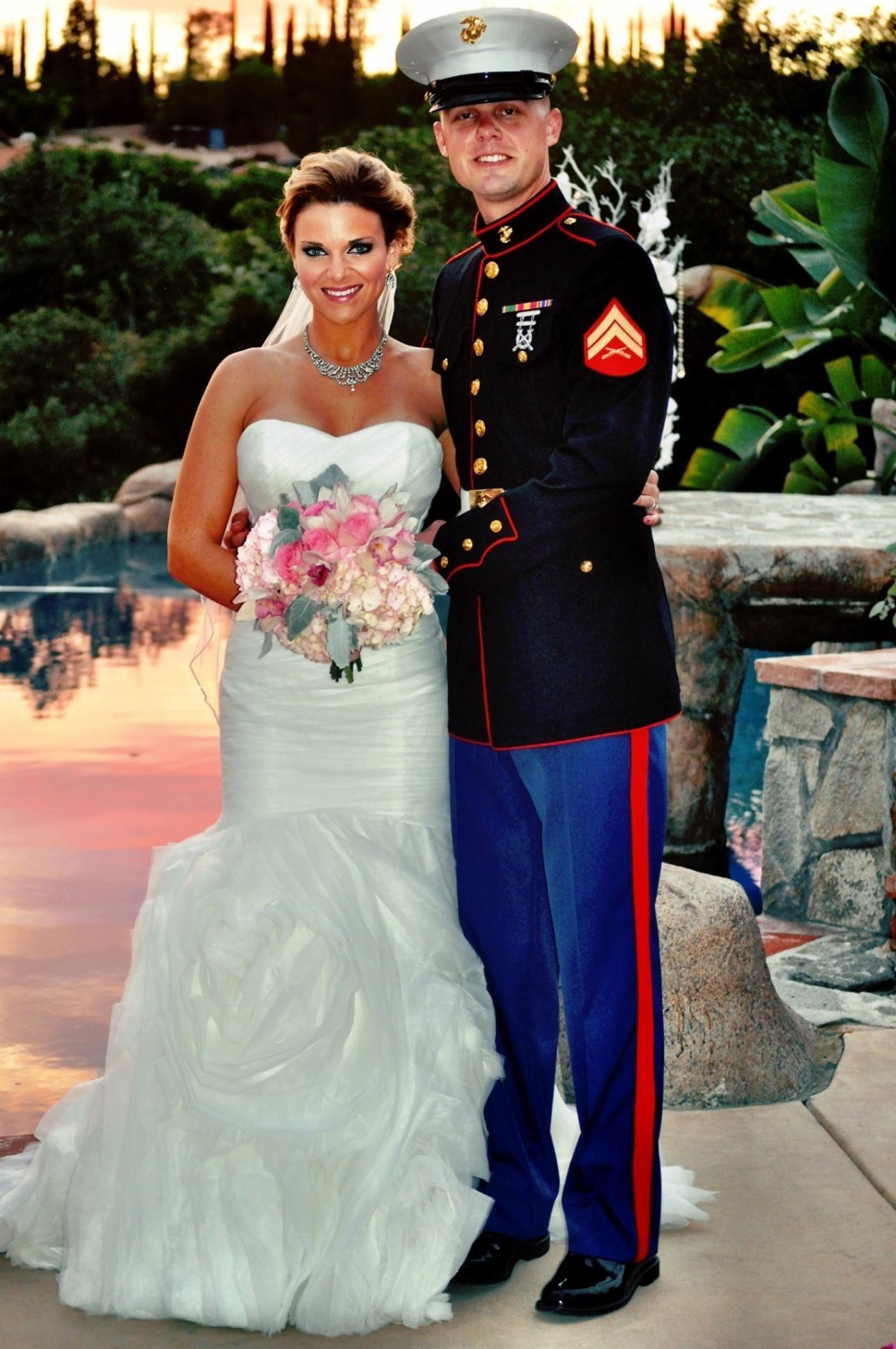 Outdoor marine wedding my purple marine wedding for Marine wedding bridesmaid dresses