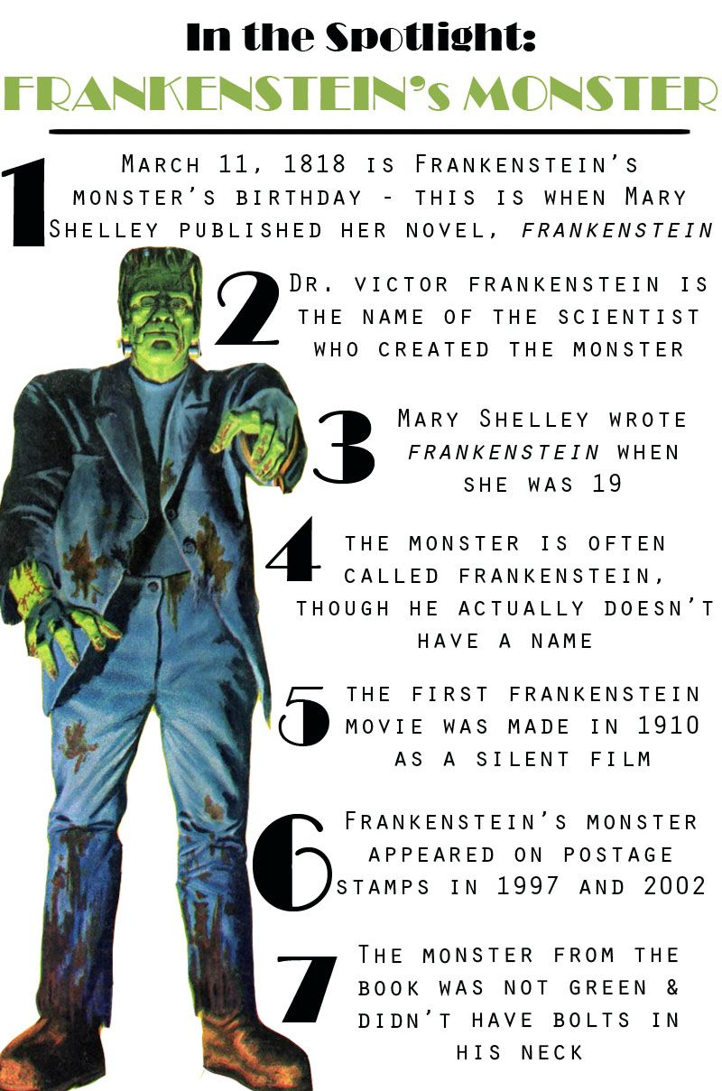 the creation of the monster in the novel frankenstein by mary shelley Title page of the first edition of mary shelley's frankenstein, or the modern  the  iconic horrifying face and overall story suggest that the monster is the.