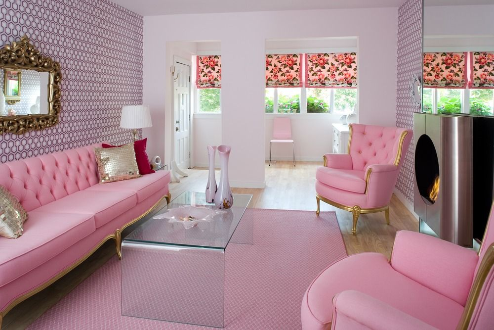 Girly Pink Living Room