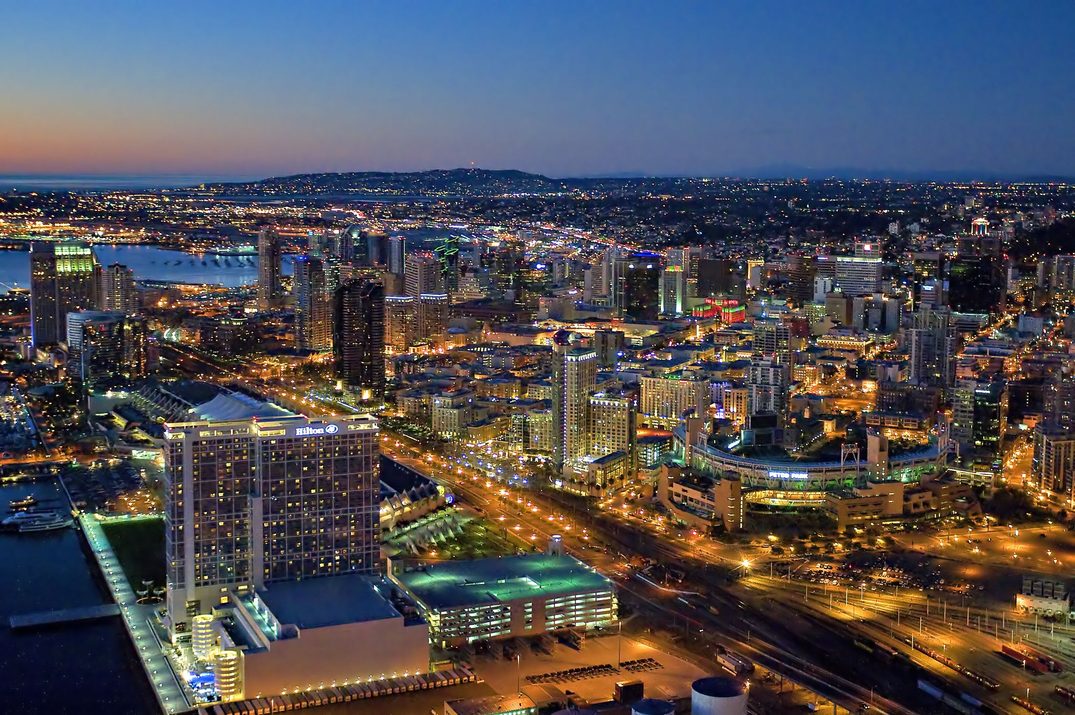 Evening view of downtown San Diego | The Hotel | Pinterest