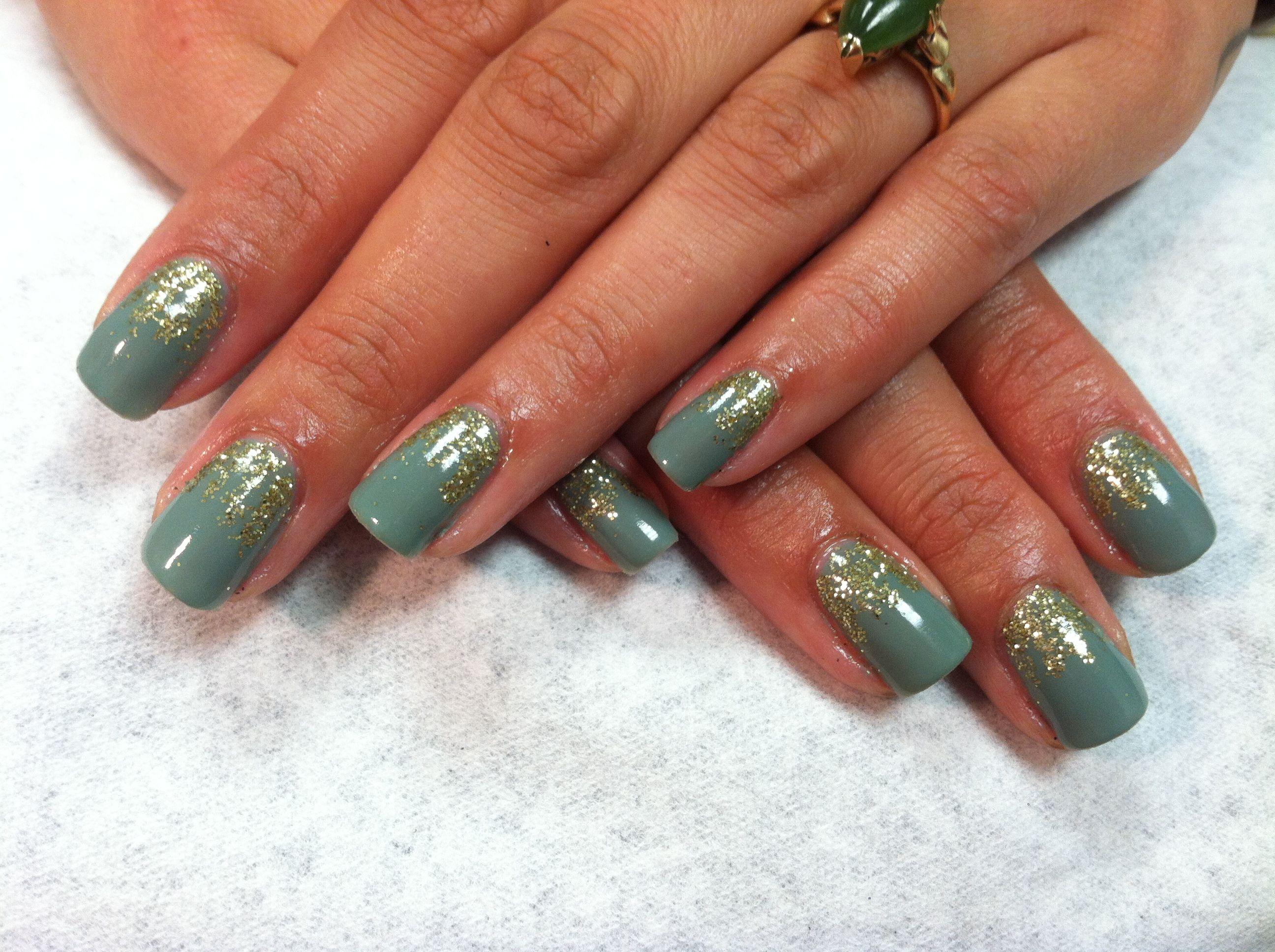 Green gold glitter shellac nails   Hair & Beauty   Pinterest