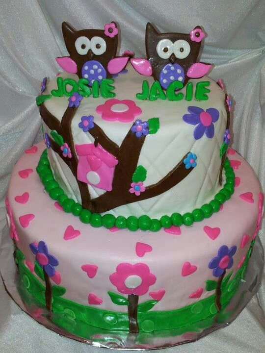 owl cake for twin baby shower cute cakes and cup cakes pinter