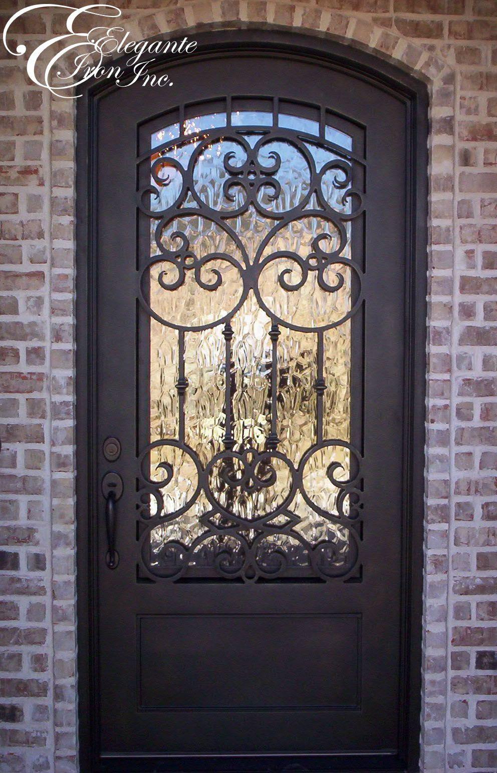 Custom wrought iron front door single doors pinterest for Decorative entrance doors