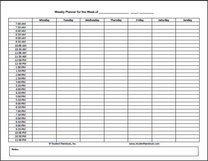 Blank Weekly Calendar 24 Hours – Printable Editable Blank