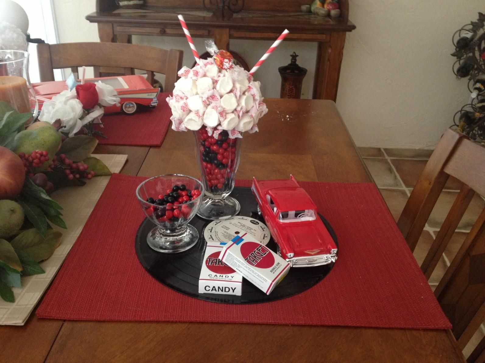 1950 39 s centerpiece created by my mom great aunt 39 s party for 50 s party decoration ideas