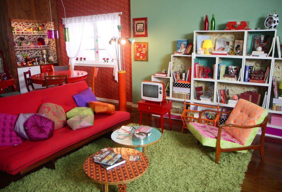 Decoração com sofá vermelho  Retrô  love !!  Pinterest
