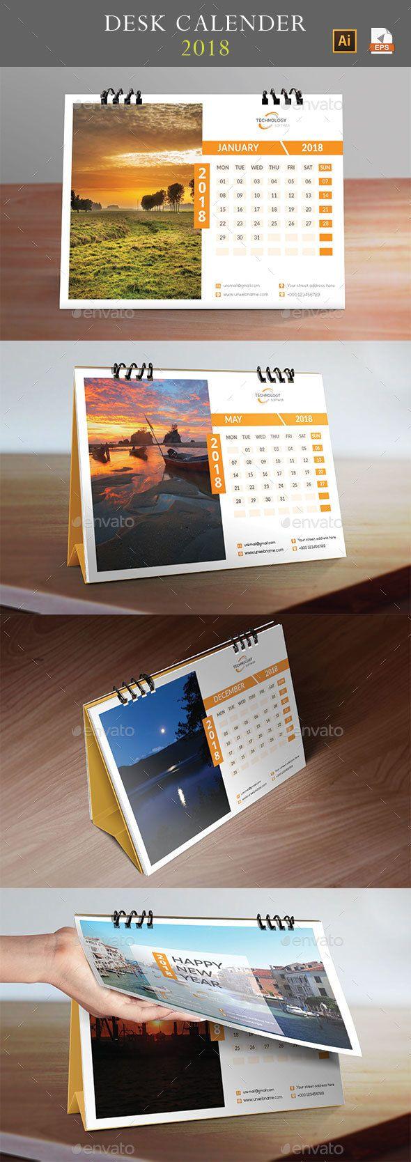 Desk Calendar 2018 | Calendar 2018, Desk calendars and Ai illustrator