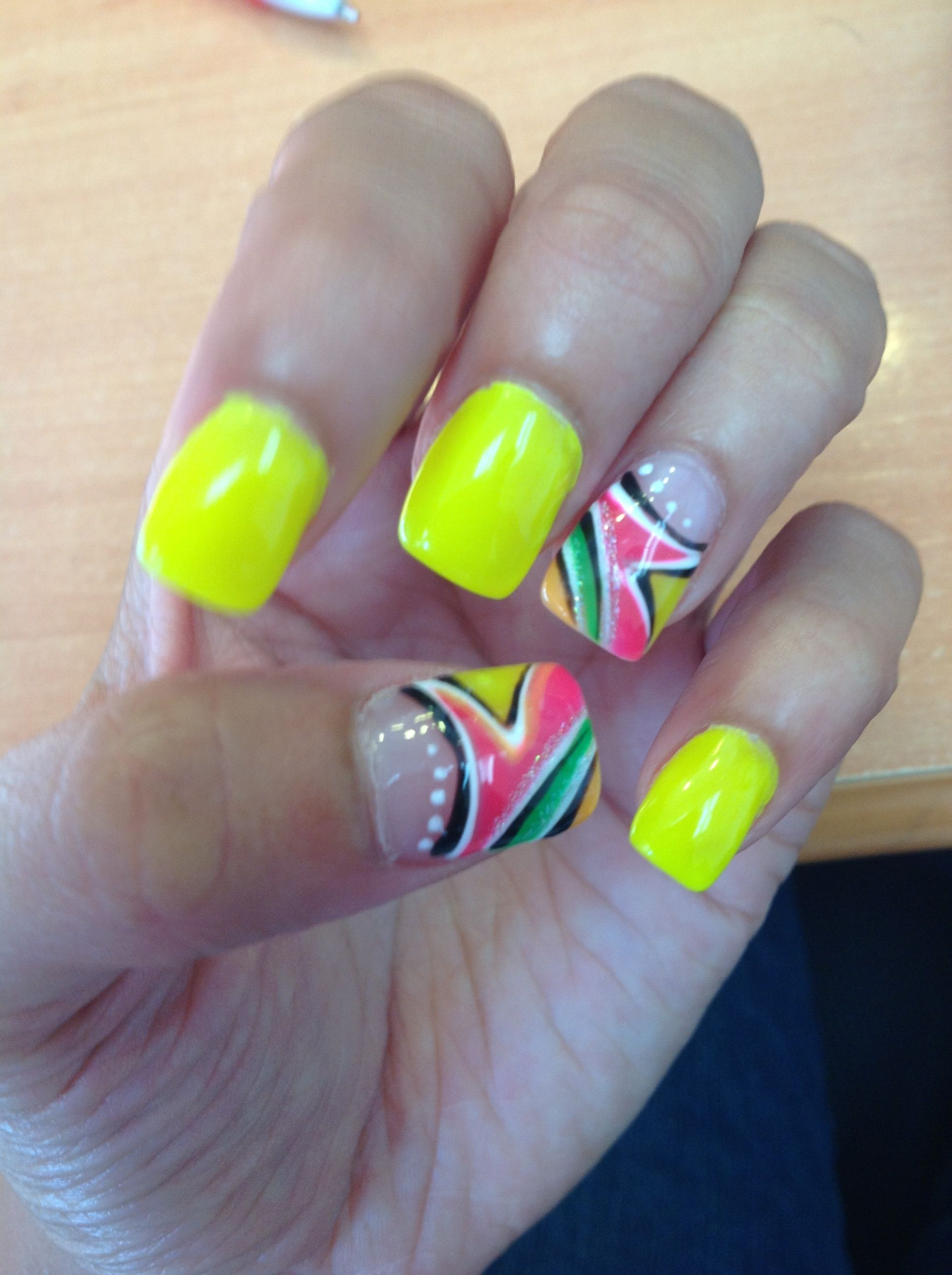 My neon yellow gel nails for July 2013 | Prom:) | Pinterest