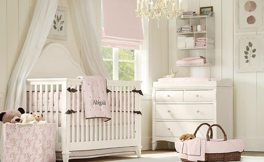 light pink with white walls and shelving baby nursery. Black Bedroom Furniture Sets. Home Design Ideas