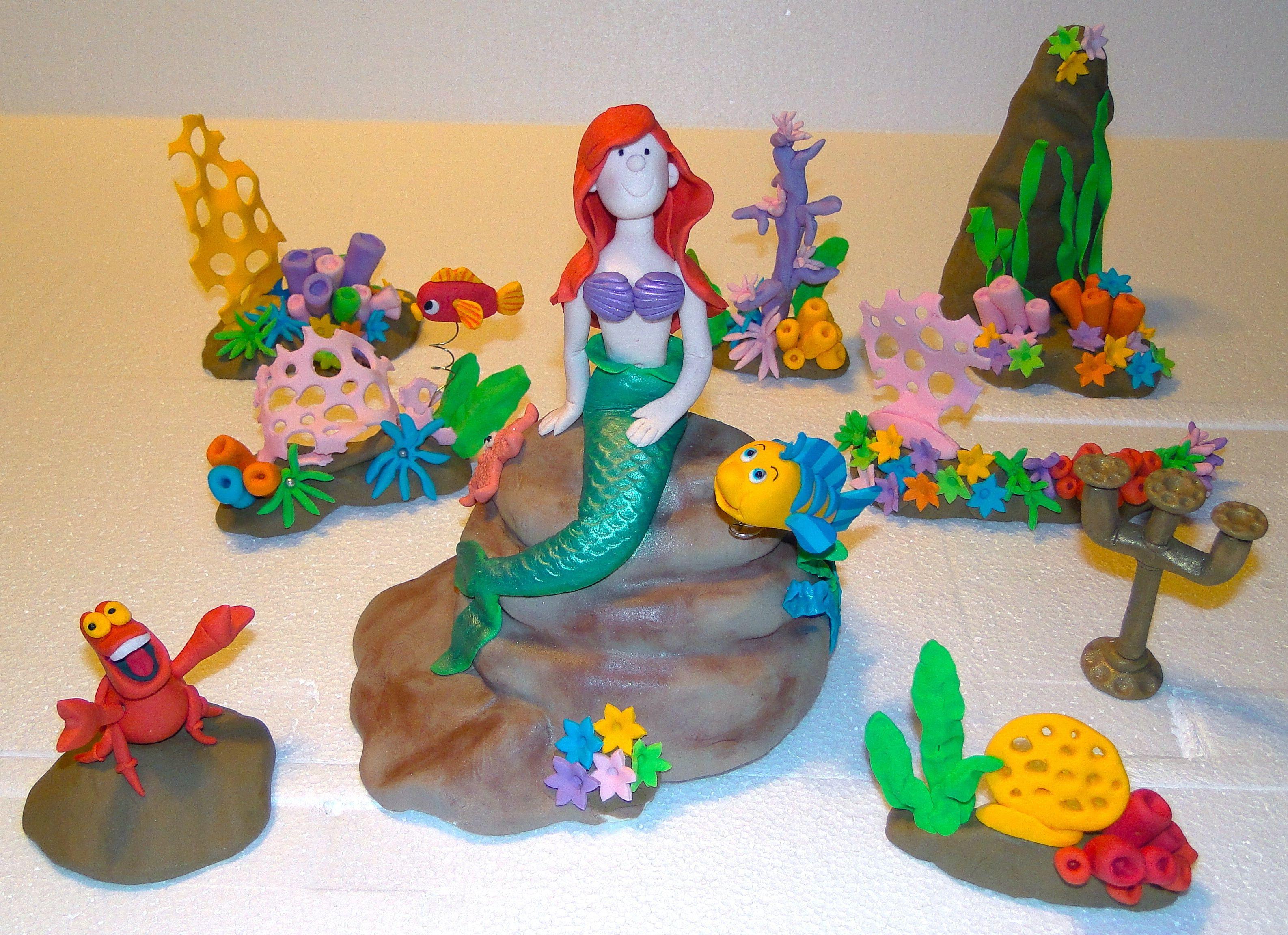 Little Mermaid Cake Decorating Kit Topper : Little Mermaid cake topper set Modeling fondant Pinterest