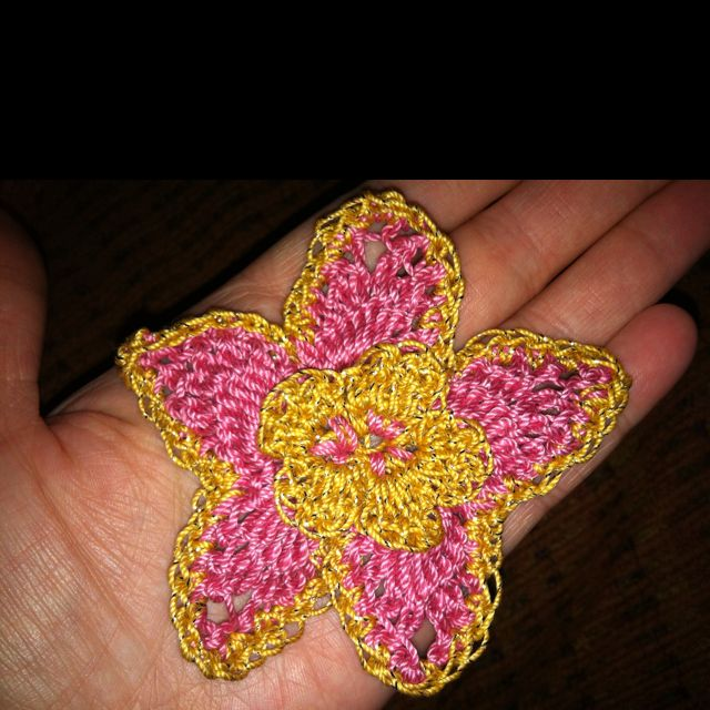 Crochet Hair Needle Walmart : Crochet flower for hair.. Pink and gold Knitting & Crochet needle c ...