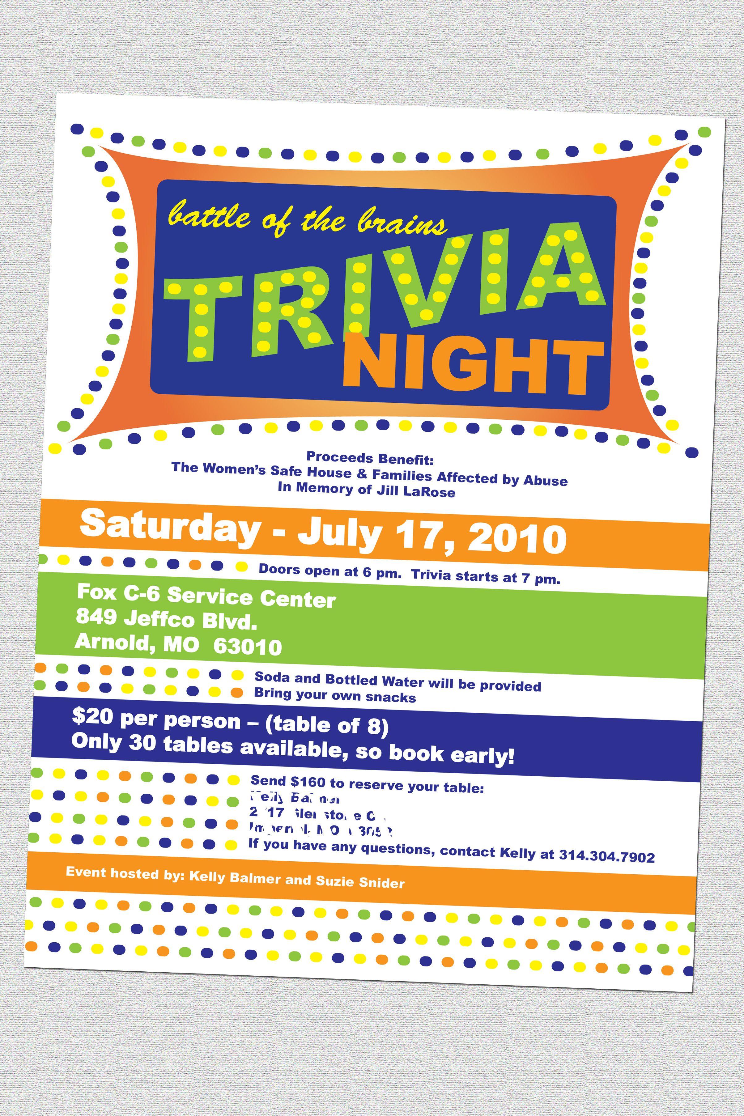 Trivia night invitation template invitationswedd quiz night poster template free admitting registrar sample resume stopboris Gallery