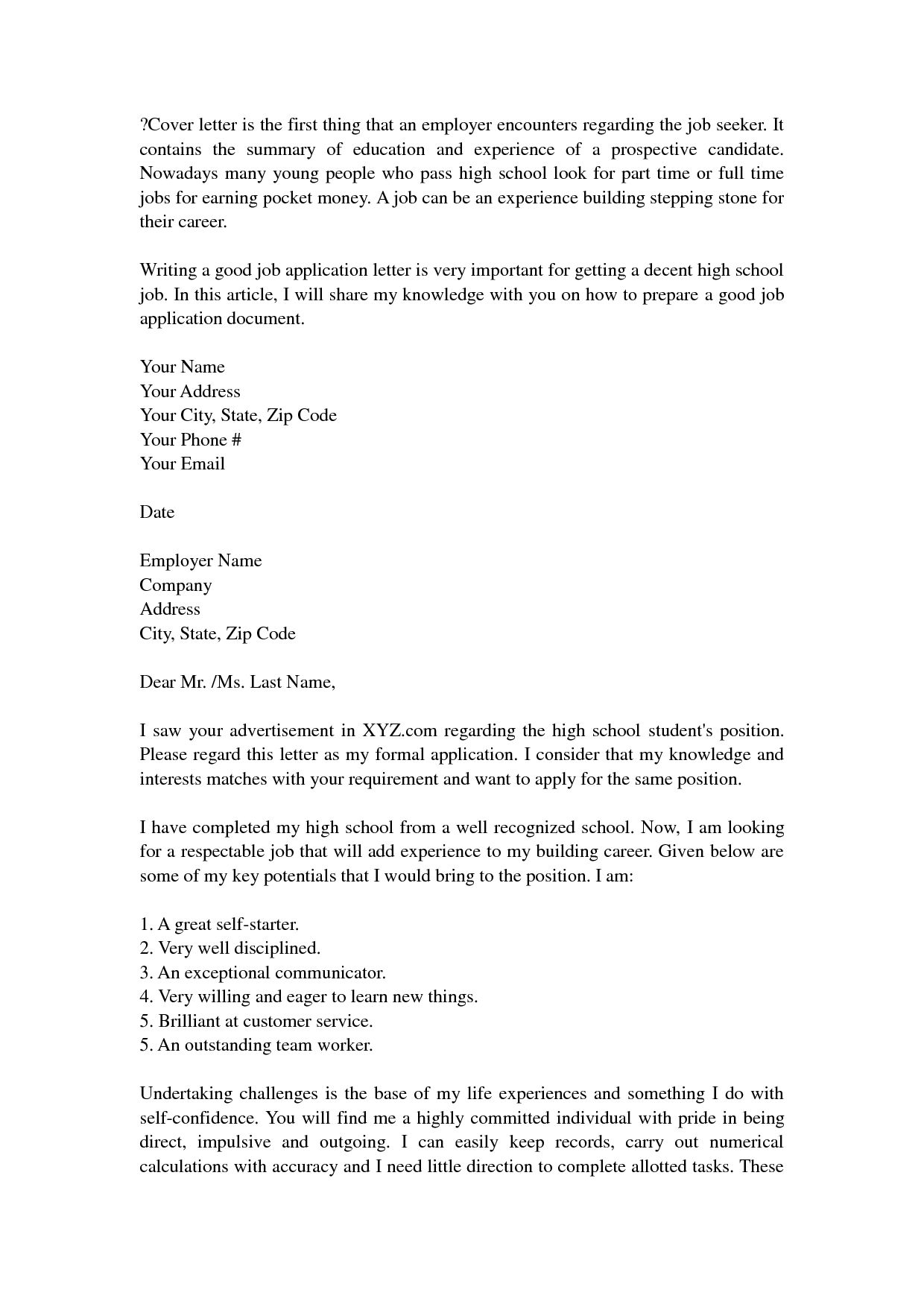 Cover letter examples high school student sample cover letters for high school students fresh altavistaventures Gallery