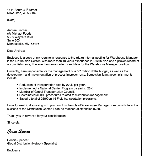 Cover Letter Examples Manufacturing