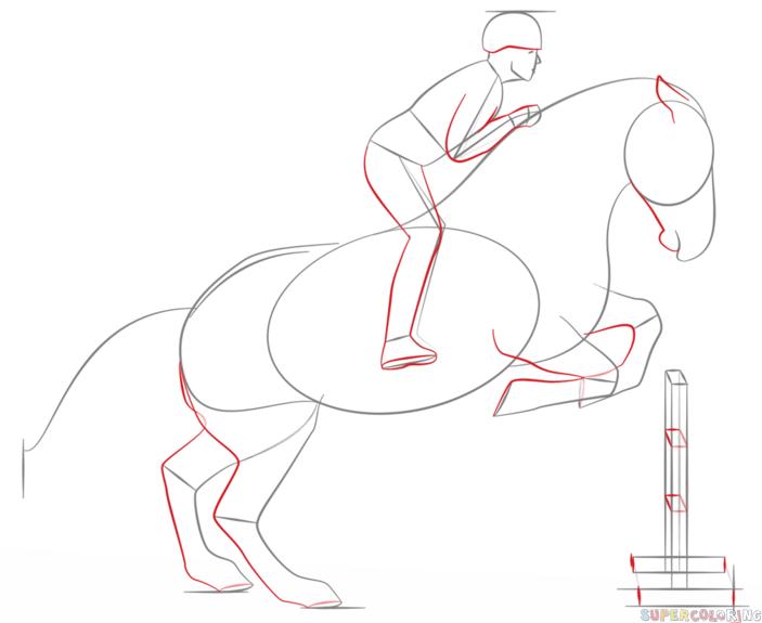 Как нарисовать поэтапно всадник