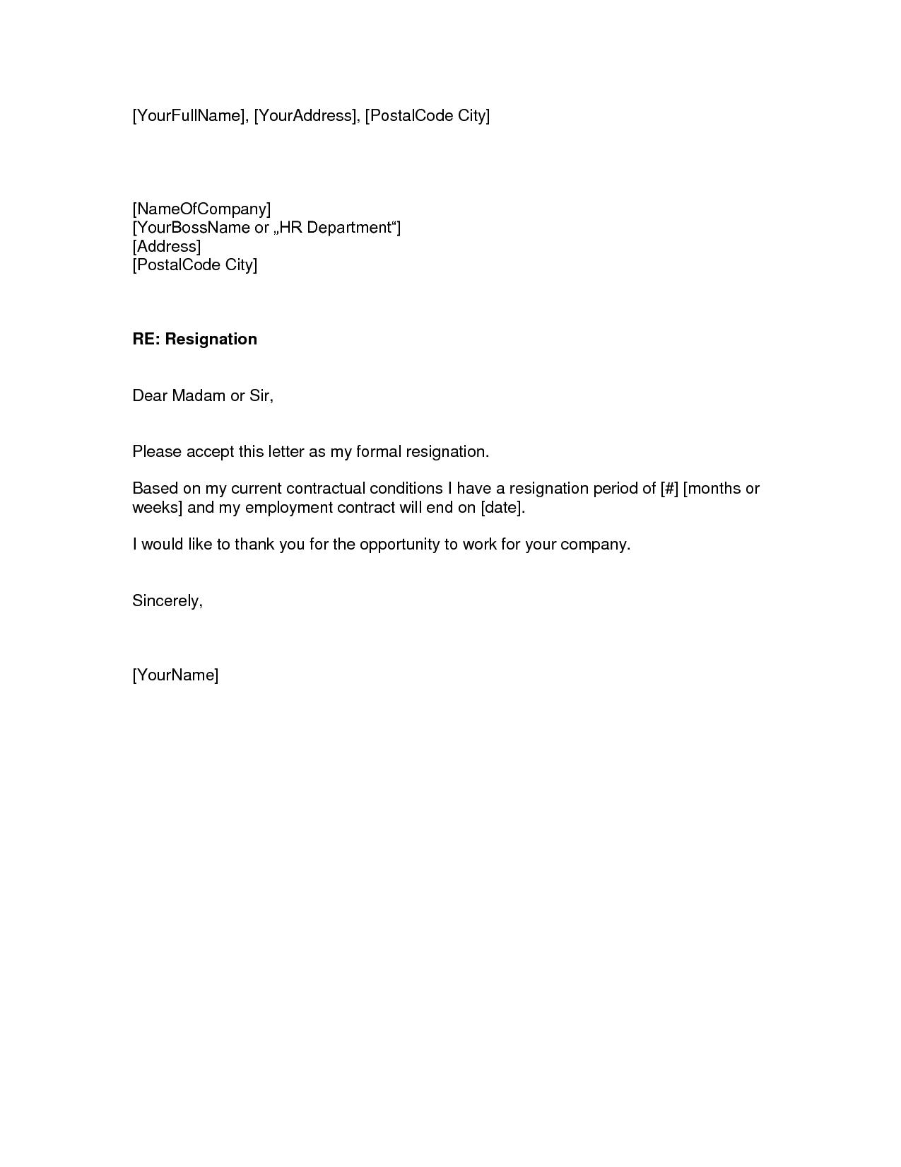 professional resignation letter template template job