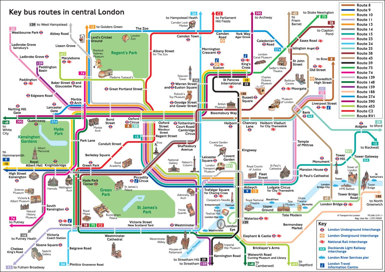 Transit Maps / Official Map: Key Bus Routes in Central London | 10 ...