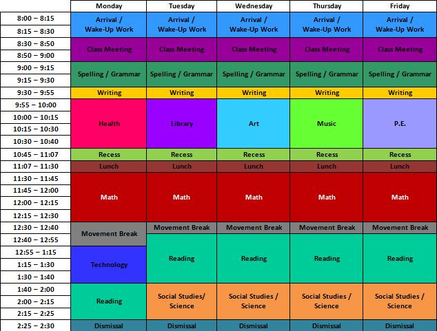 4th grade class schedule - Google Search | Classroom schedule ...