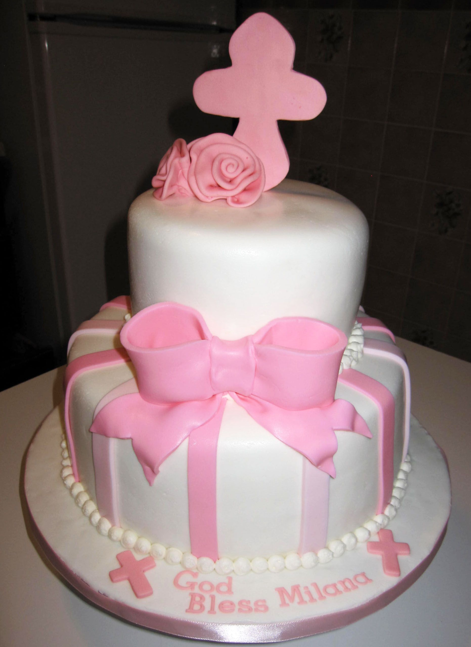 Cake Ideas For Girl Baptism : Baby Girl Christening Cake Serena :) Pinterest