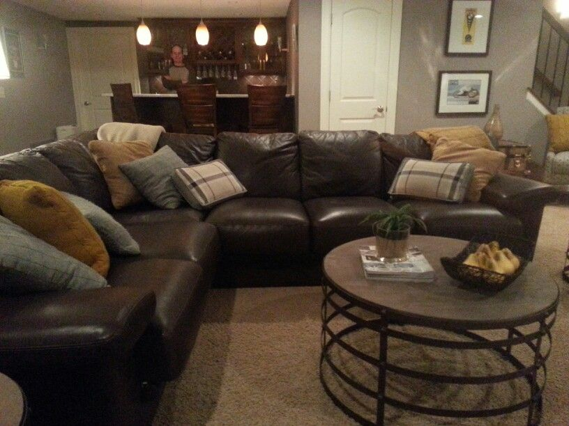 gold brown and gray family room living room