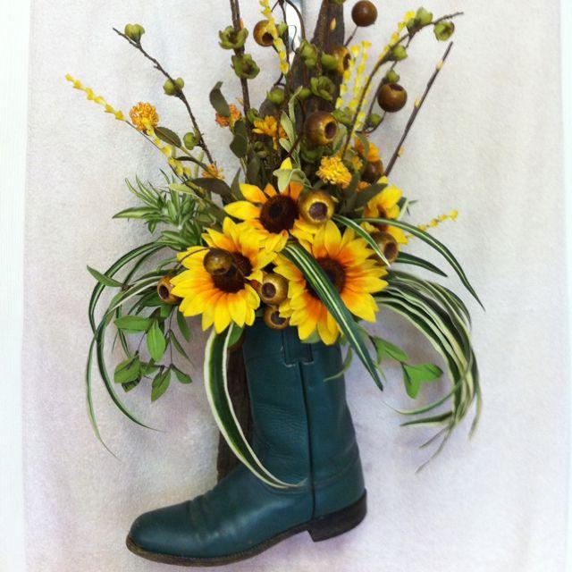 Western Boot Sunflower Arrangement Shower Ideas Pinterest