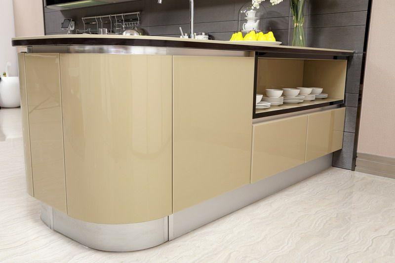 shaped base cabinet oppein  Olive Color Kitchen Cabinet (Mode OP
