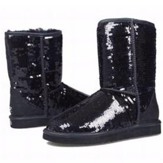 black sparkle ugg boots shoes pinterest. Black Bedroom Furniture Sets. Home Design Ideas