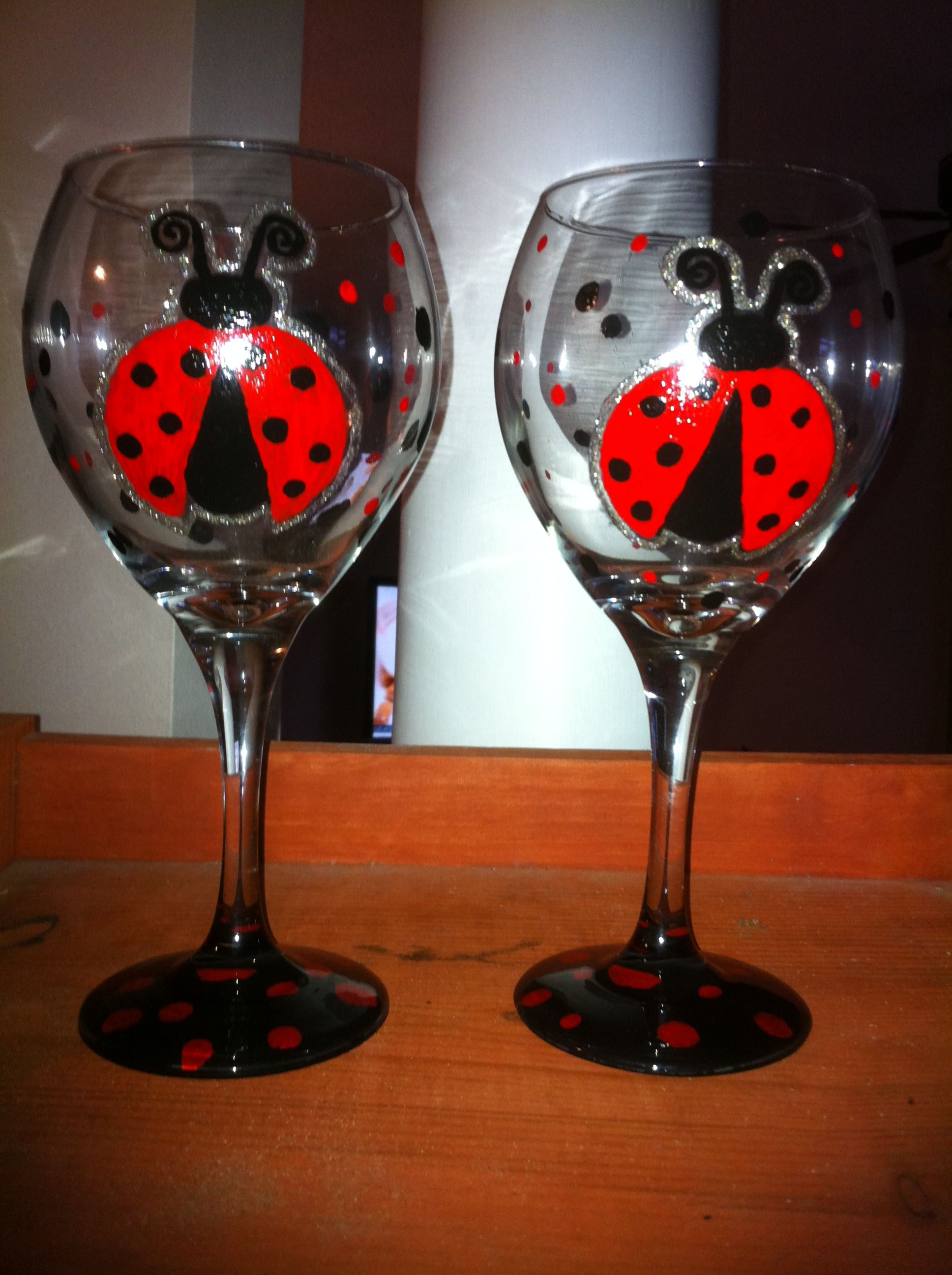 Ladybug wine glasses places i d like to go pinterest Wine glasses to go