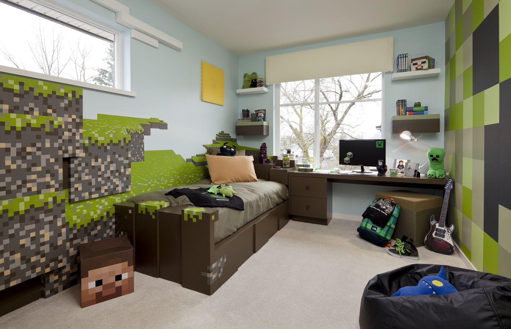 Minecraft kid 39 s bedroom minecraft pinterest for Boys bedroom mural ideas