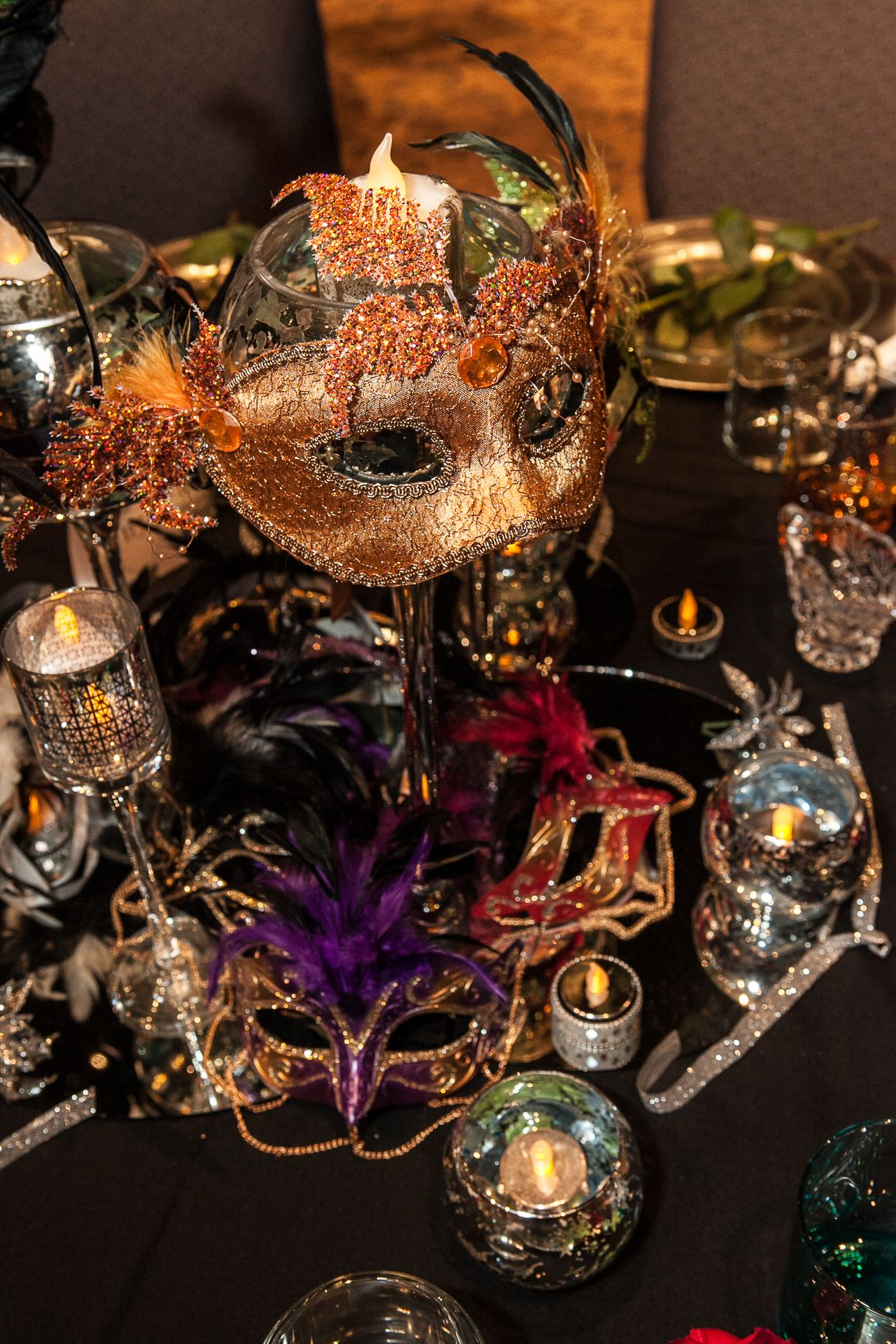 Quinceanera Masquerade Table Decorations Photograph Glasses
