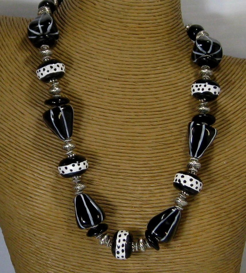 Unique Black Kazuri Warrior Necklace Available at VP's Jewelry