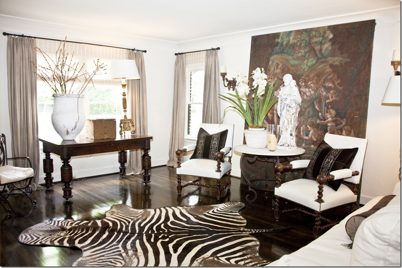 Lovely neutrals and timeless zebra rug home decor for Living room ideas zebra