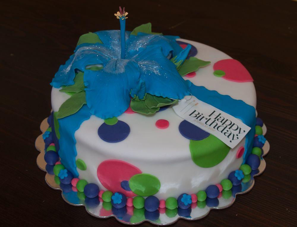 Hibiscus Flower Fondant Birthday Cake | Sweet tooth or 2 :) | Pintere ...