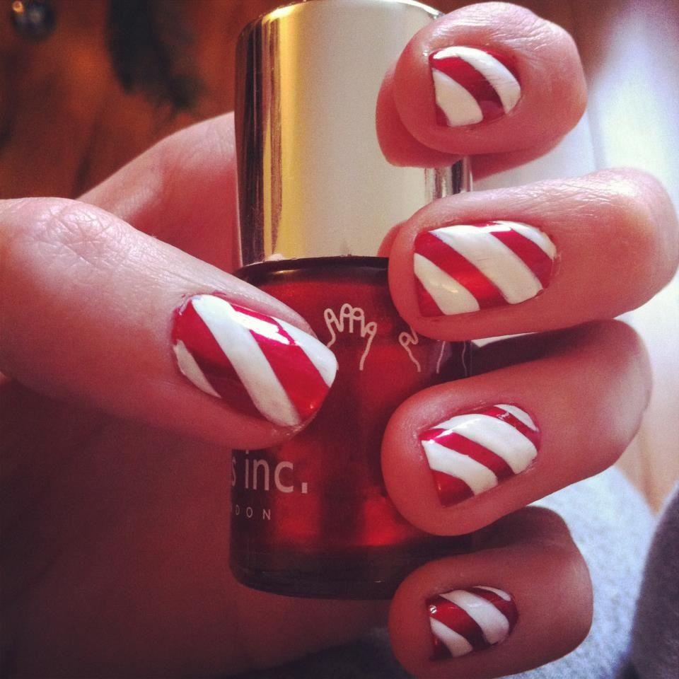 Candy cane christmas nail art nails amp nail art pinterest
