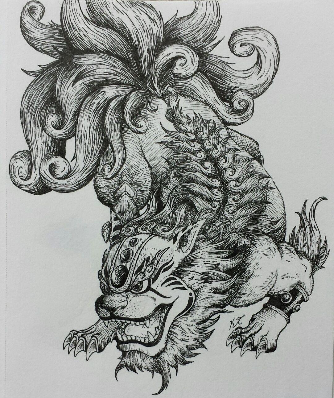 Chinese lion dog tattoo