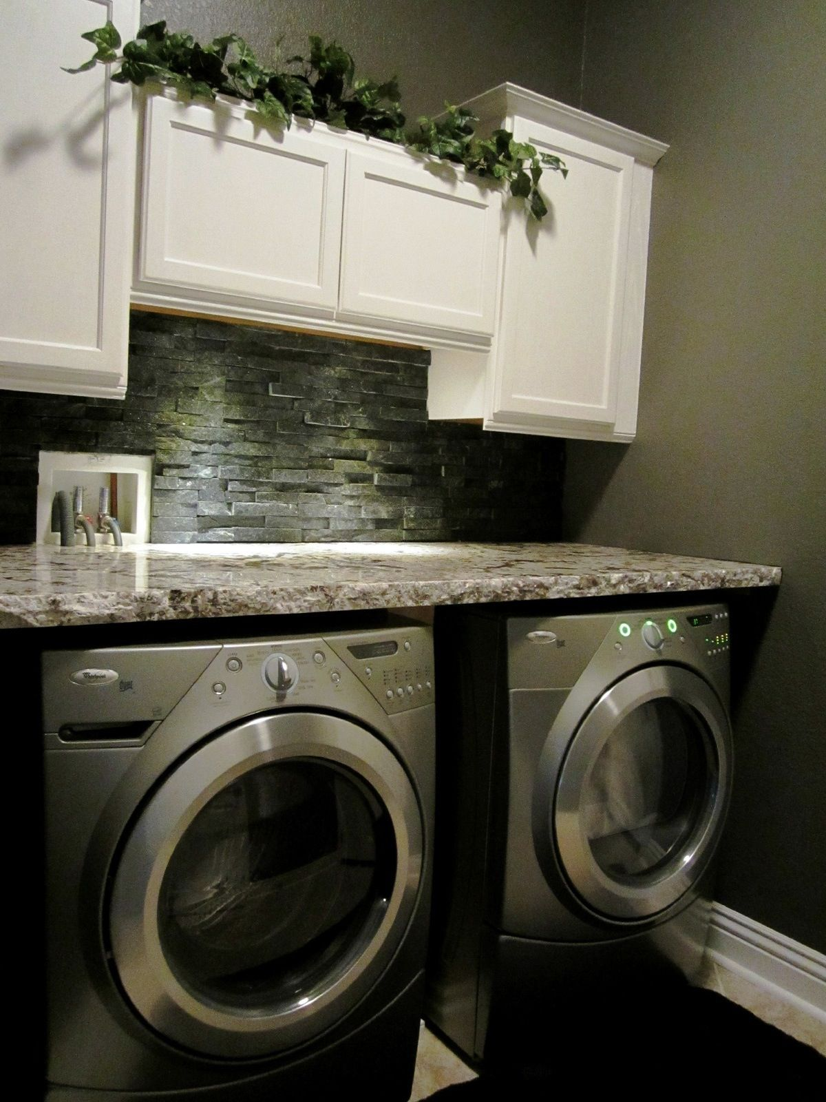 Countertop Options For Laundry Room : Stone backsplash Laundry Room Pinterest