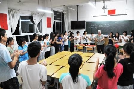 Teaching Hooky Pokey to the Qinzhou students at our party