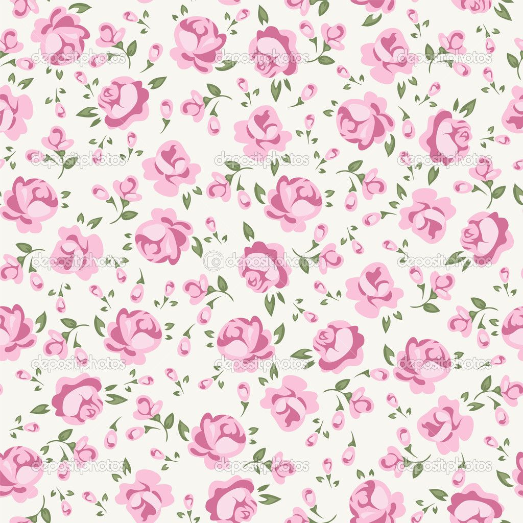 Shabby Chic Rose Pattern Paper