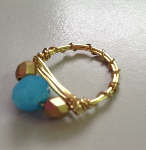 gold beaded wire ring jewelry