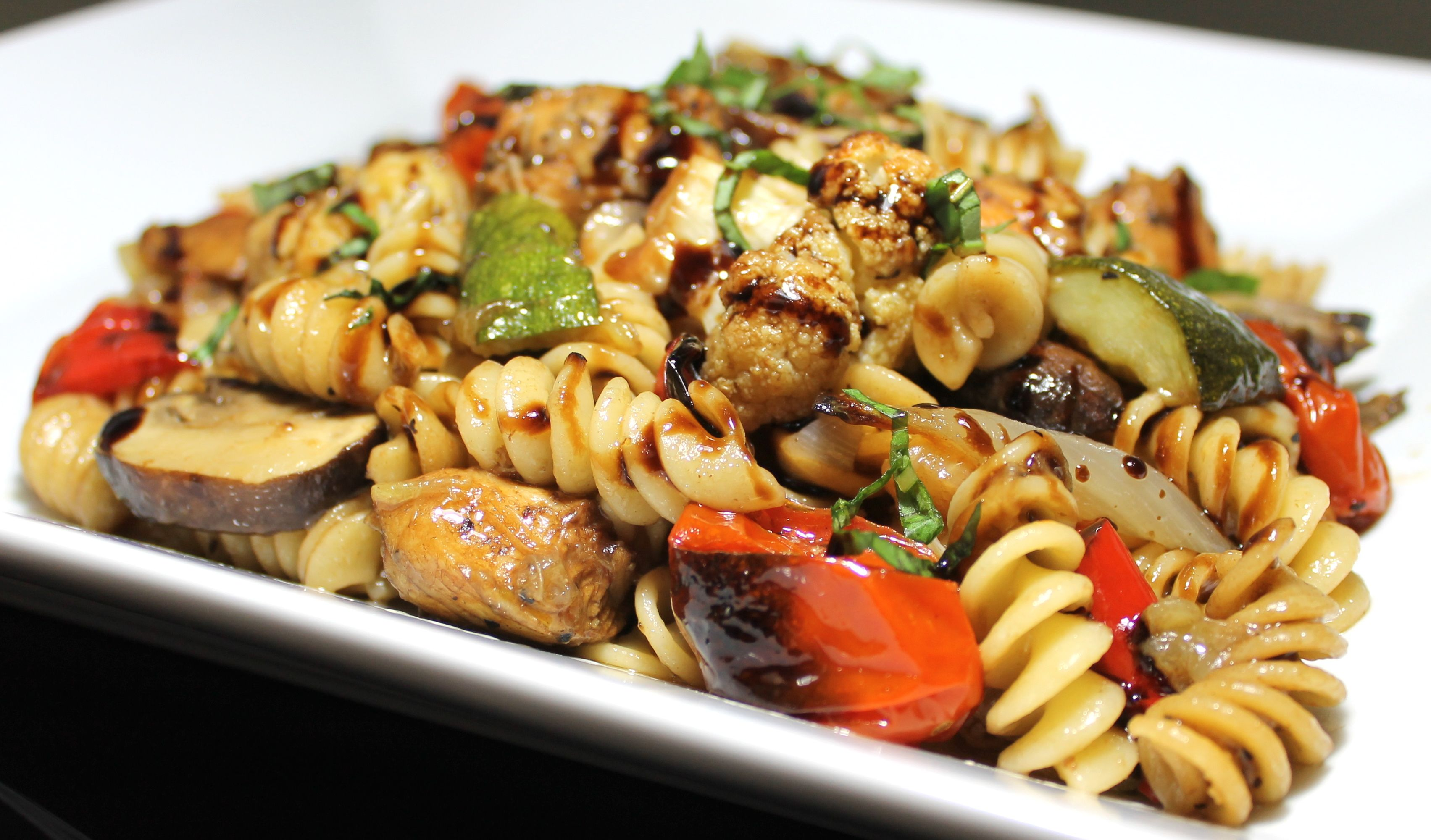 Chicken with Roasted Vegetable Pasta | Authentic Cooking | Pinterest