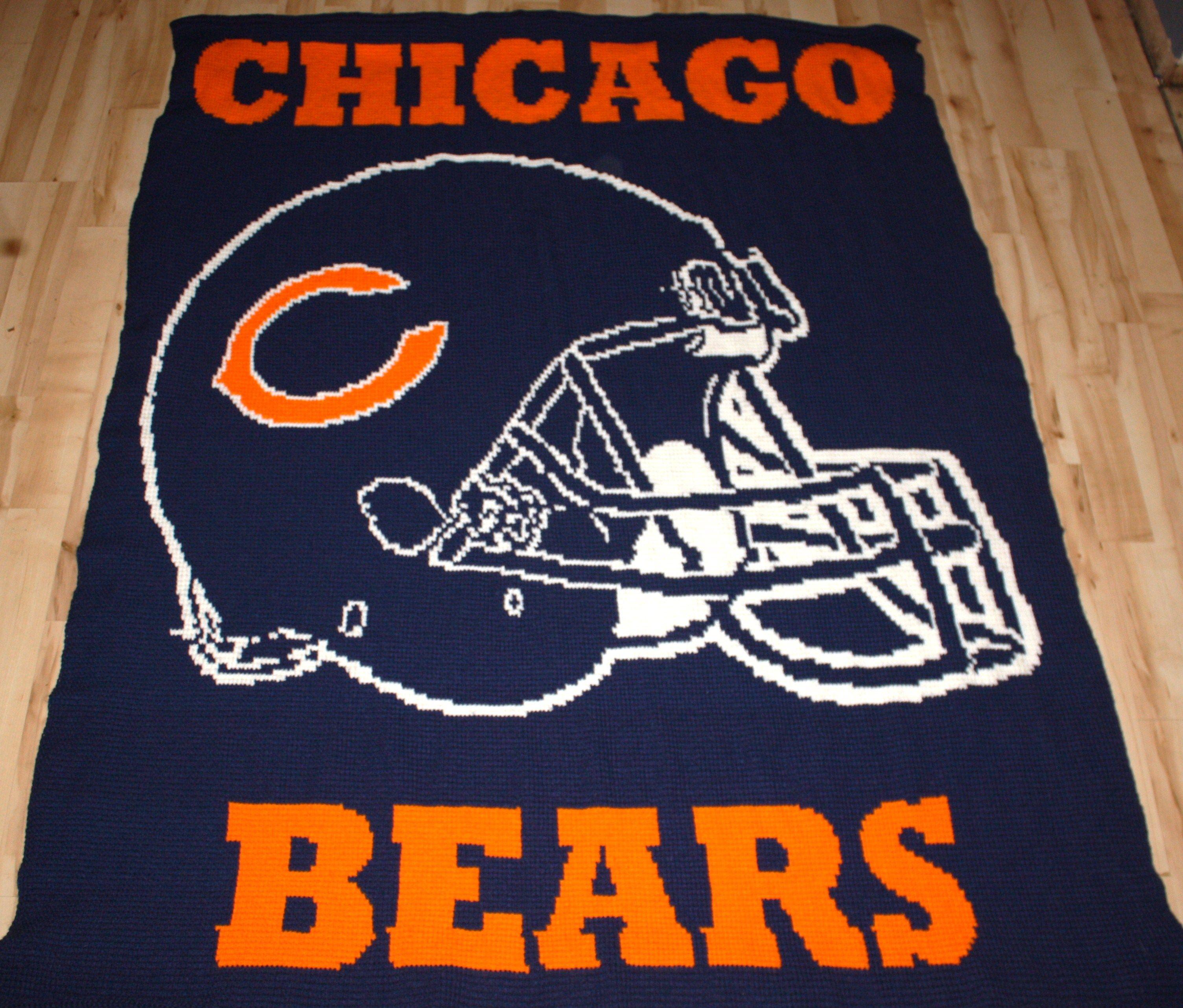 Free Crochet Pattern For Chicago Bears C : Chicago Bears afghan Crochet..Lovely Afghans Pinterest