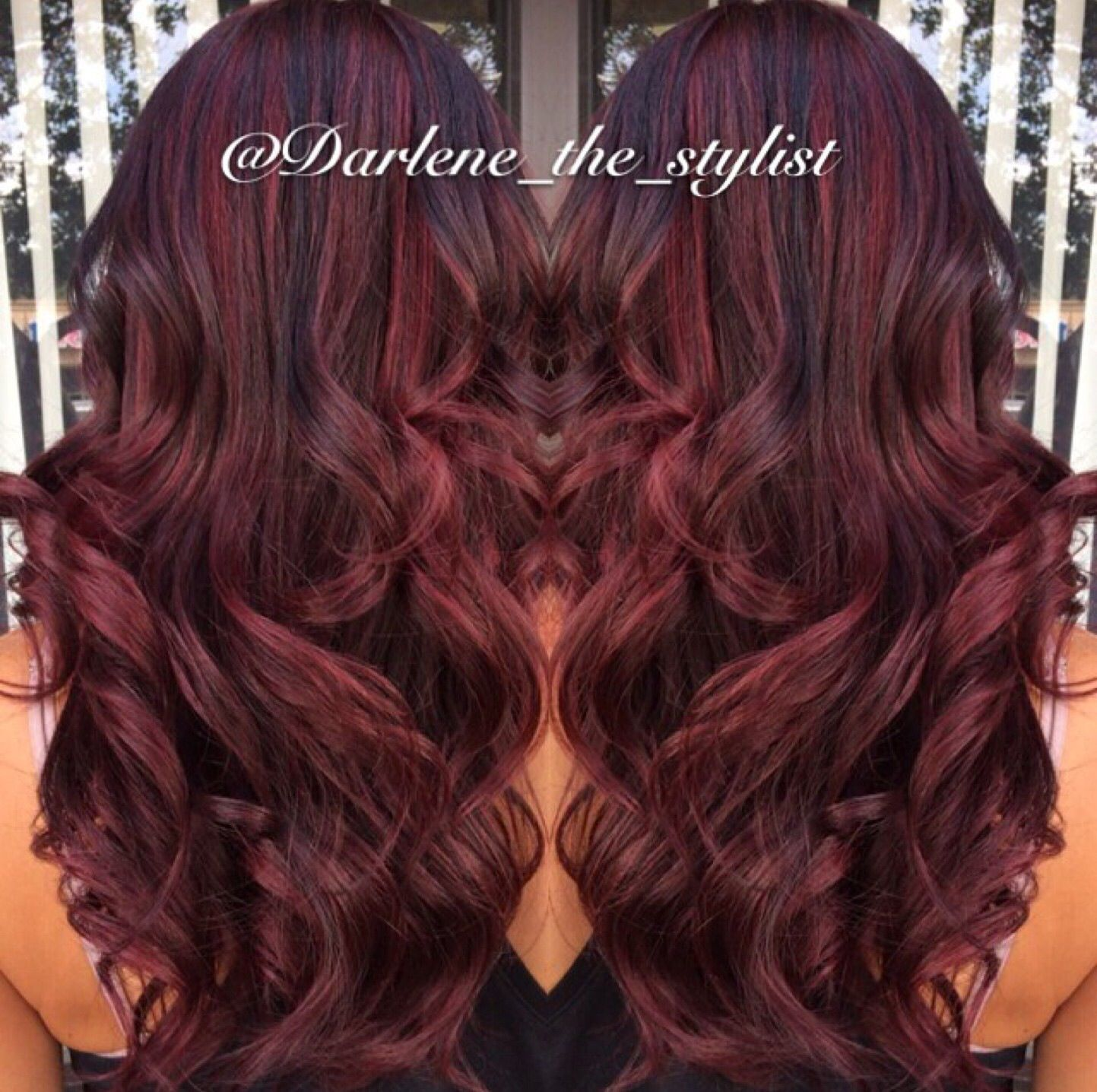 Red balayage with dark brown lowlights | Hair | Pinterest