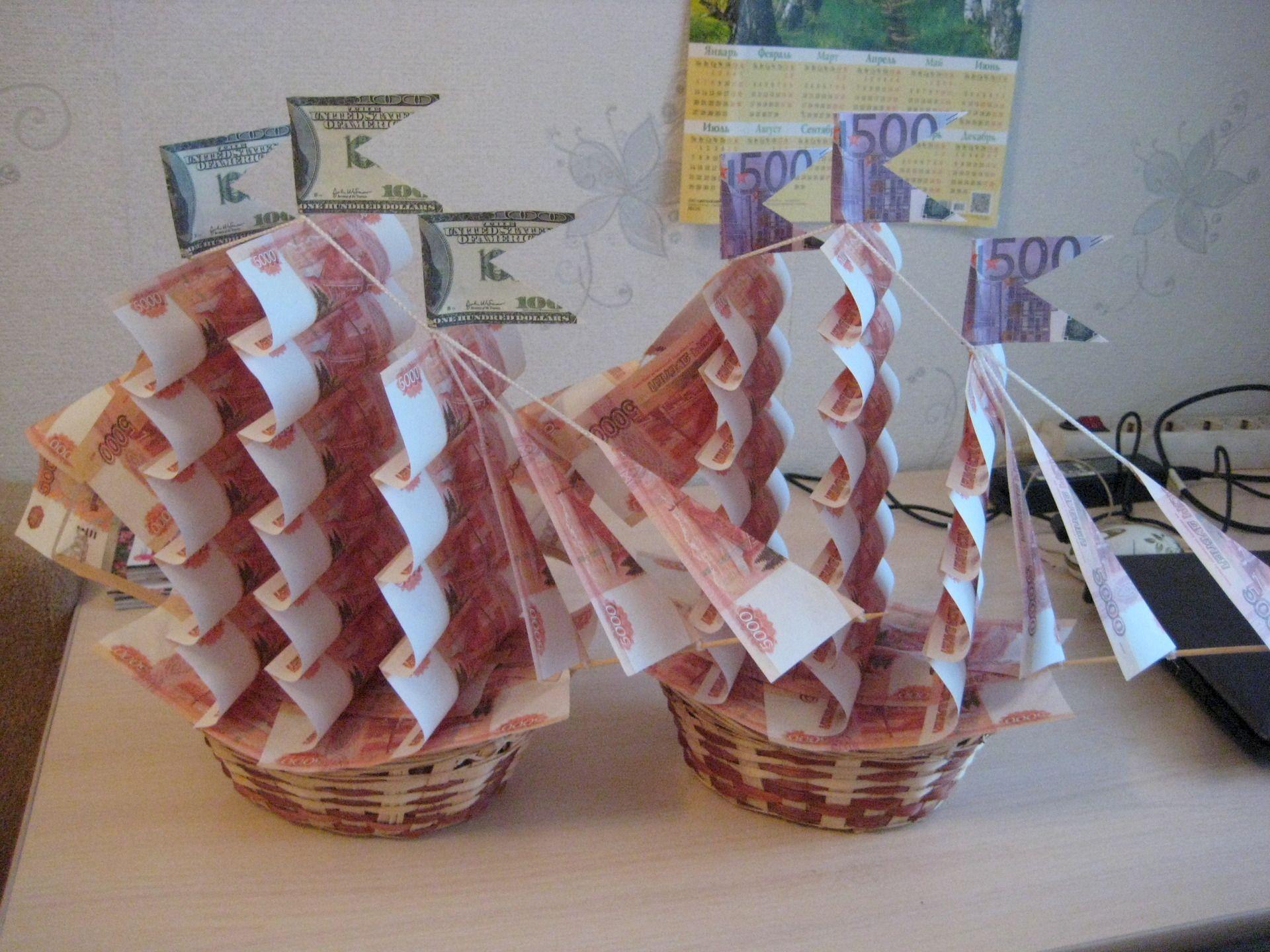Подарки из денег своими руками. Как оформить подарок деньгами и какие слова поздравления к денежному подарку на свадьбу, день ро